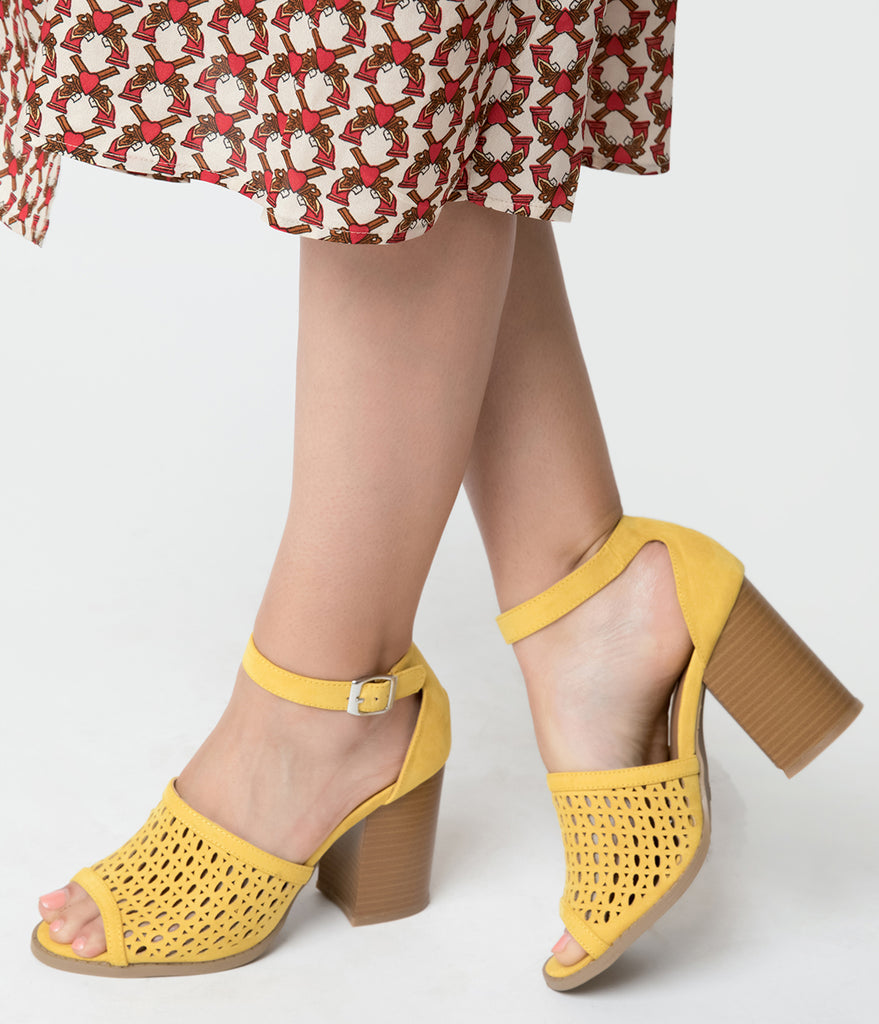 Mustard Yellow Suede Cutout Peep Toe Block Heels