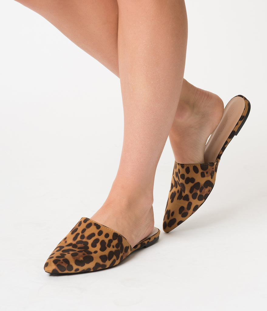 Leopard Print Suede Pointed Toe Mule Flats