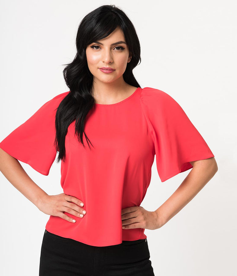 Retro Style Red Butterfly Sleeve Woven Blouse