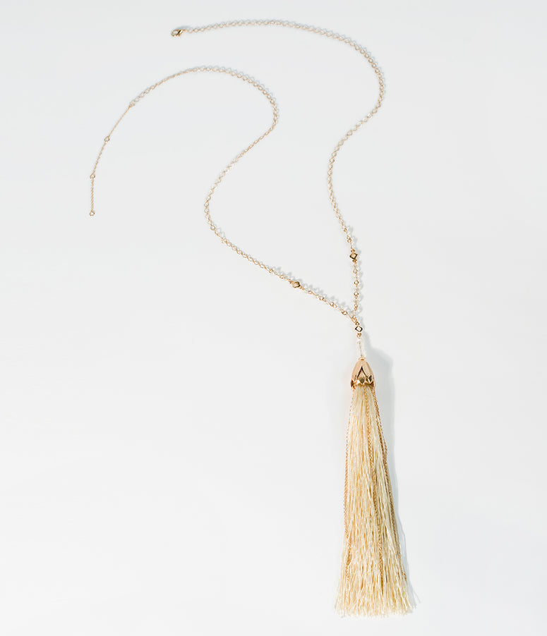 Deco Style Ivory & Gold Tassel Pendant Necklace