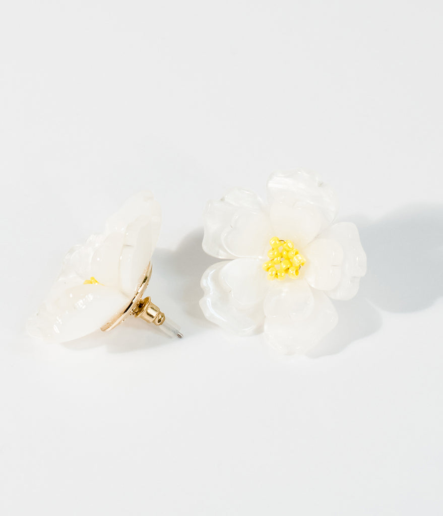 Ivory Marbled Flower Resin Post Earrings