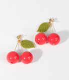 Retro Style Red Cherry Beaded Drop Earrings