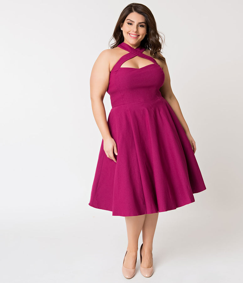 Unique Vintage Plus Size 1950s Style Magenta Rita Halter Flare Dress