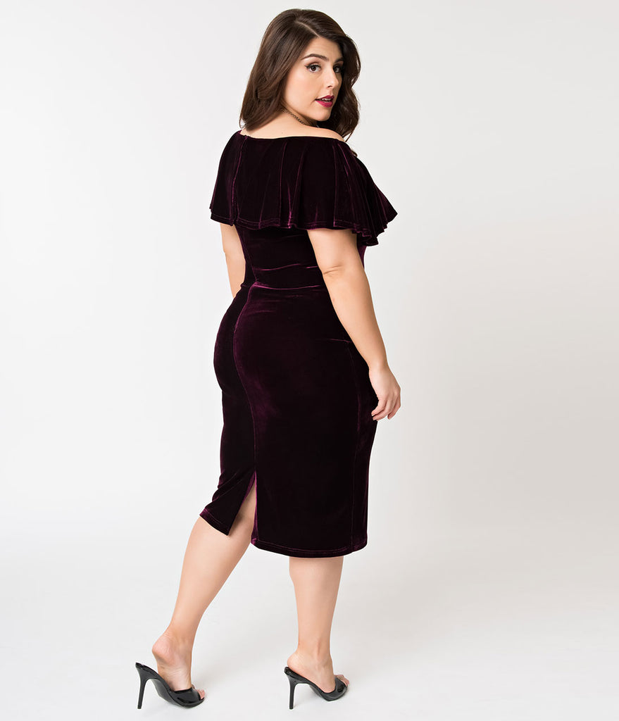 Unique Vintage Plus Size Eggplant Purple Velvet Draped Off Shoulder Sophia Wiggle Dress