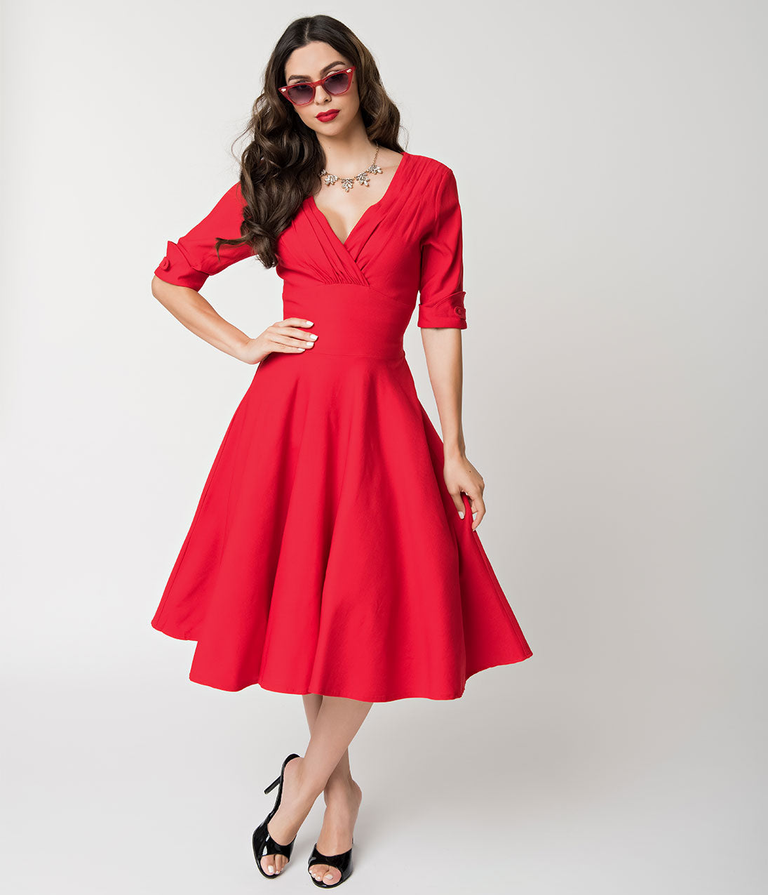 1950s Dresses, 50s Dresses | 1950s Style Dresses Unique Vintage 1950S Red Delores Swing Dress With Sleeves $88.00 AT vintagedancer.com