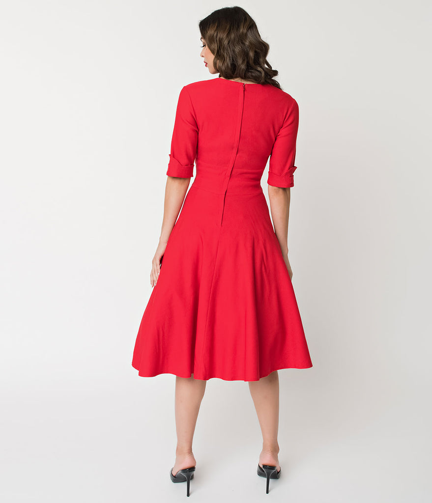 Unique Vintage 1950s Red Delores Swing Dress with Sleeves