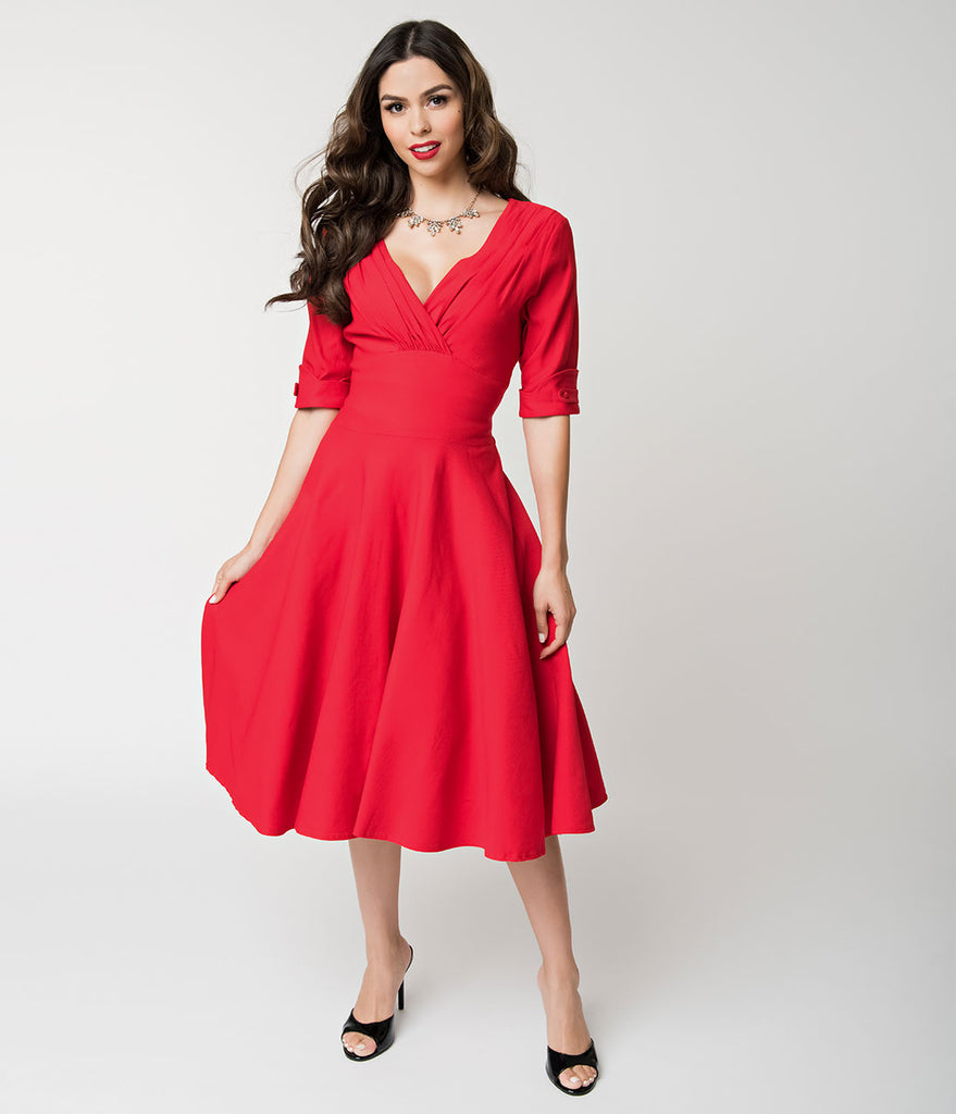 76a4c6d0b4e Unique Vintage 1950s Red Delores Swing Dress with Sleeves