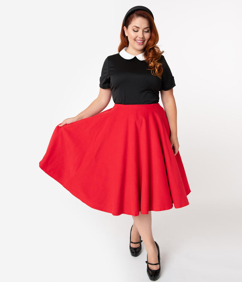 Barbie x Unique Vintage Plus Size Red Corduroy Cheerleader Swing Skirt