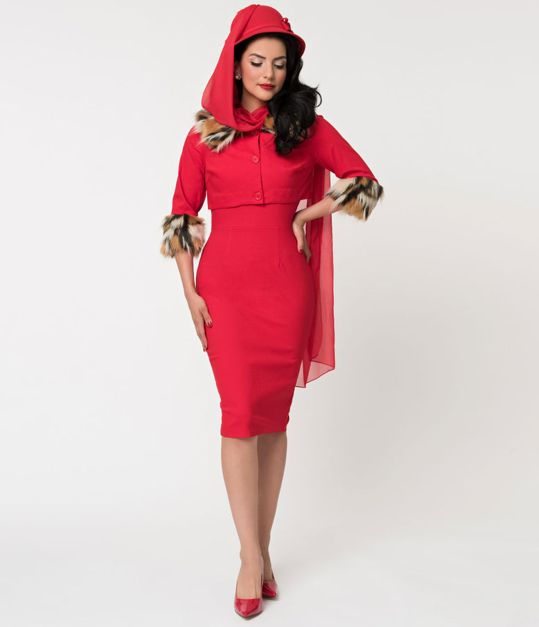 Barbie x Unique Vintage Red Matinee Fashion Sheath Dress & Jacket