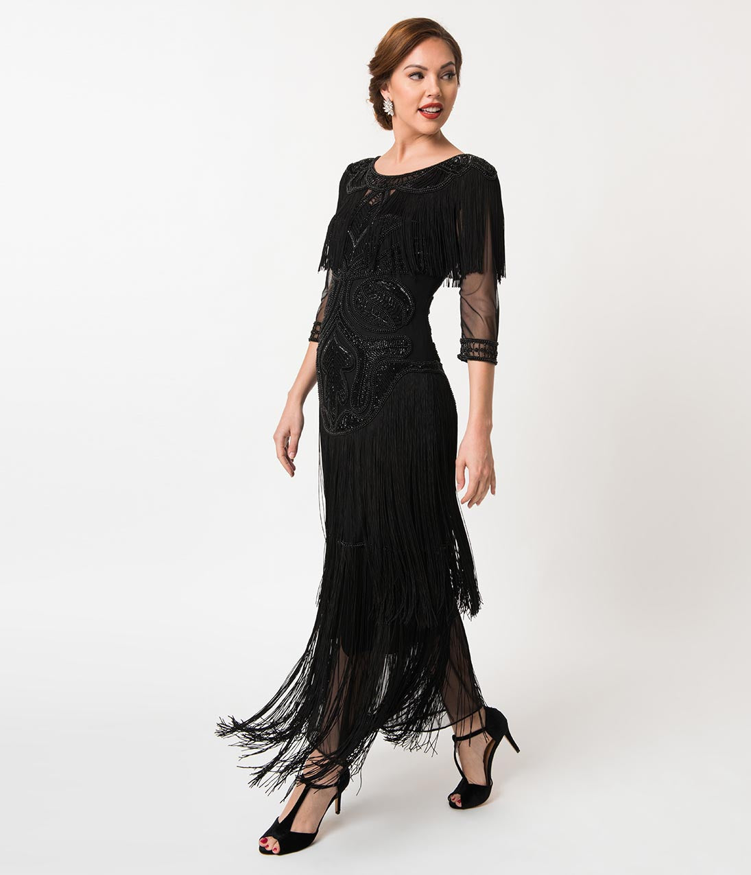 Downton Abbey Inspired Dresses 1920S Style Black Beaded Mesh Glam Fringe Flapper Maxi Gown $248.00 AT vintagedancer.com