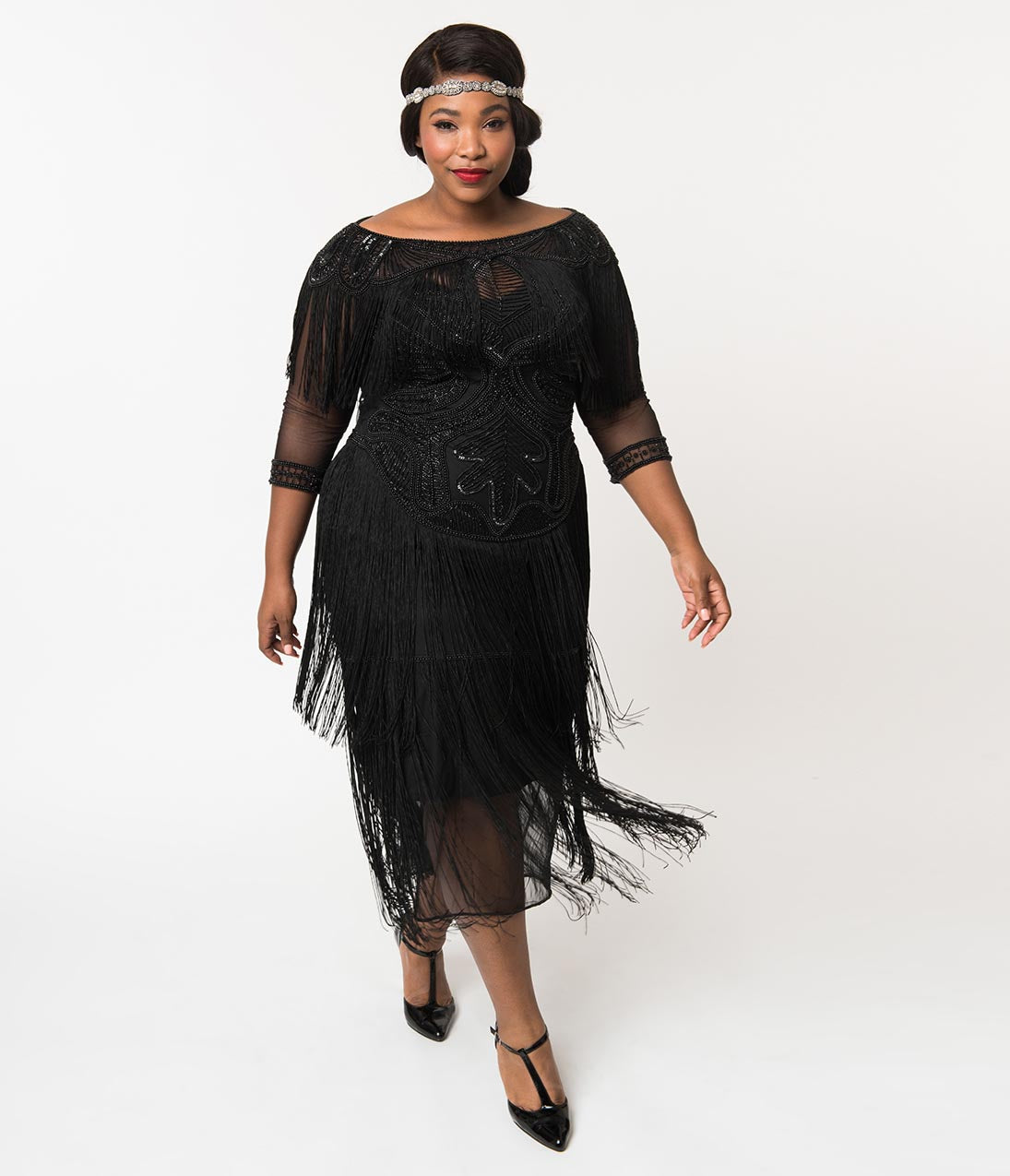 1920s Evening Gowns by Year Plus Size 1920S Style Black Beaded Mesh Glam Fringe Flapper Maxi Gown $186.00 AT vintagedancer.com