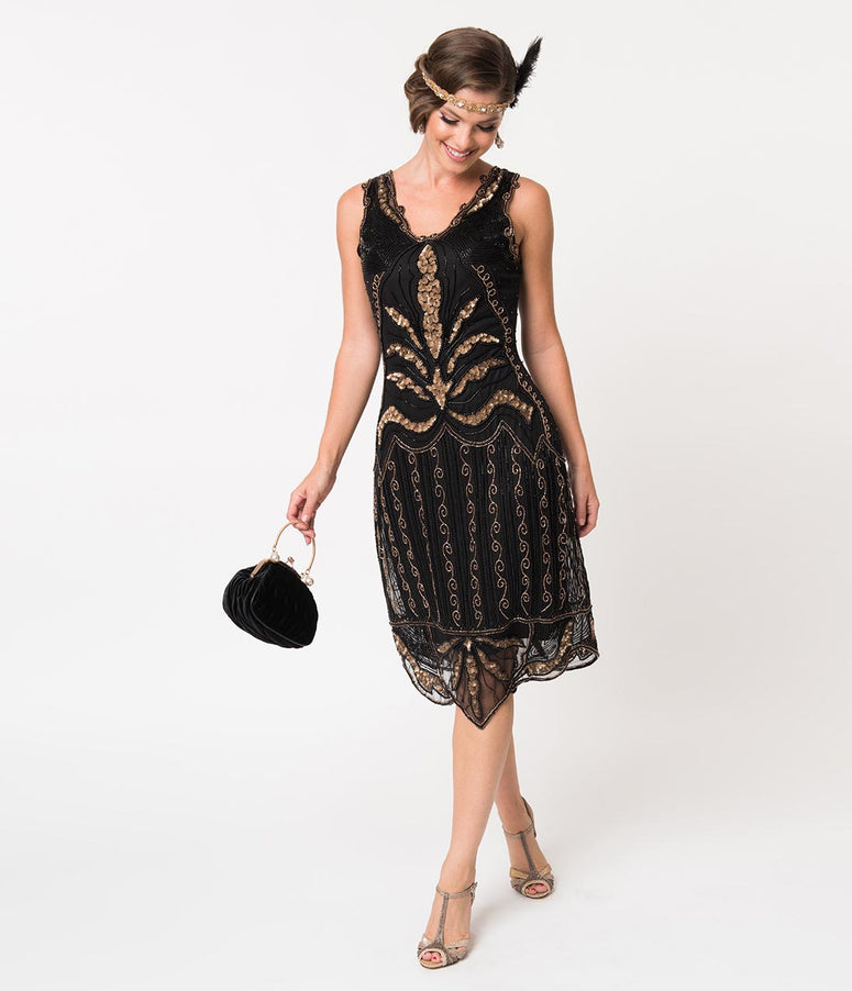 1920s Style Black & Gold Beaded Elsa Cocktail Dress
