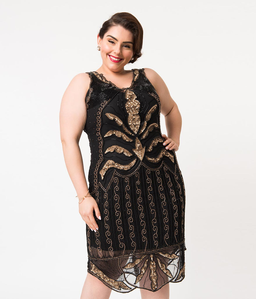 Plus Size 1920s Style Black & Gold Beaded Elsa Cocktail Dress