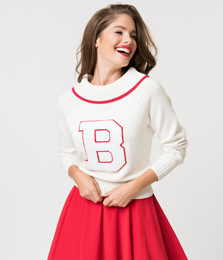 Barbie x Unique Vintage White Knit Letterman Sweater
