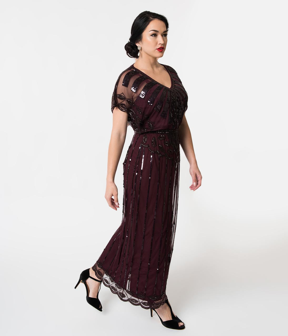 1920s Evening Dresses & Formal Gowns 1920S Plum Purple Beaded Deco Angelina Maxi Flapper Dress $168.00 AT vintagedancer.com