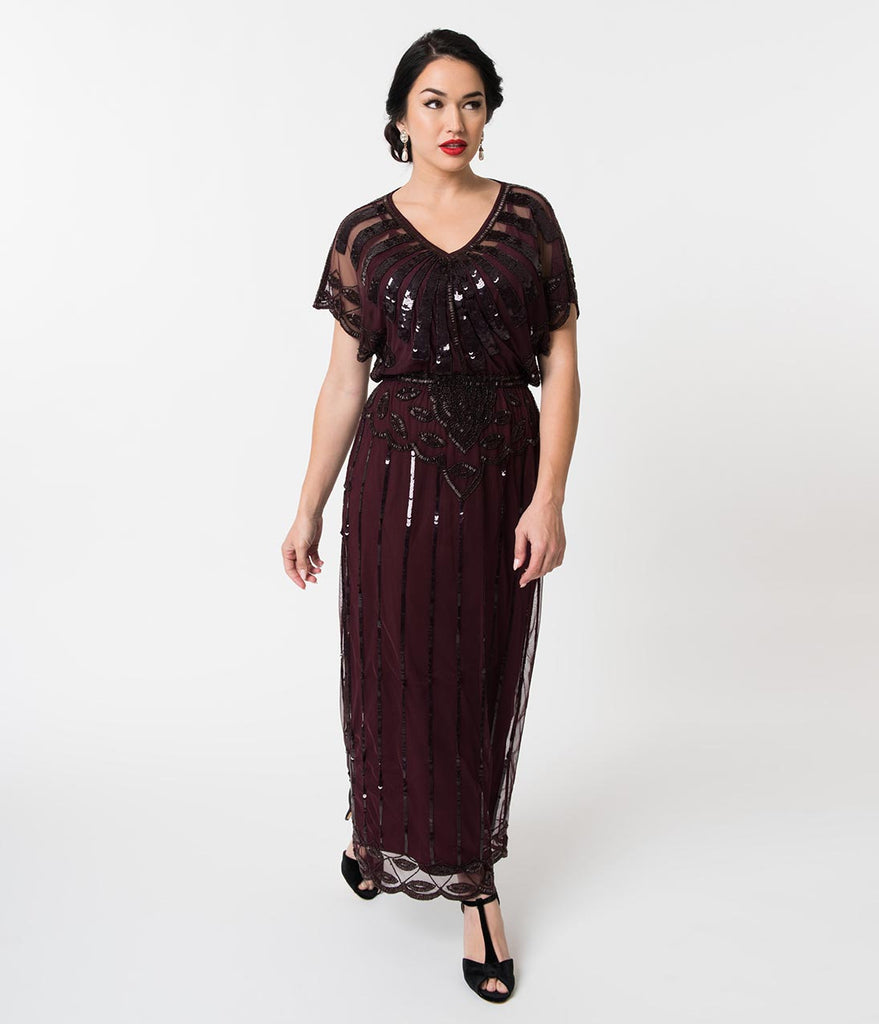1920s Plum Purple Beaded Deco Angelina Maxi Flapper Dress