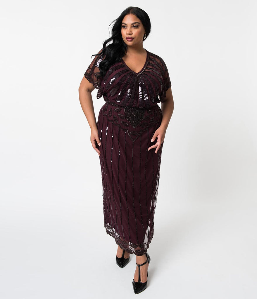 d2857085ed2 Plus Size 1920s Plum Purple Beaded Deco Angelina Maxi Flapper Dress –  Unique Vintage