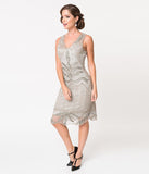1920s Style Silver & Grey Beaded Elsa Cocktail Dress
