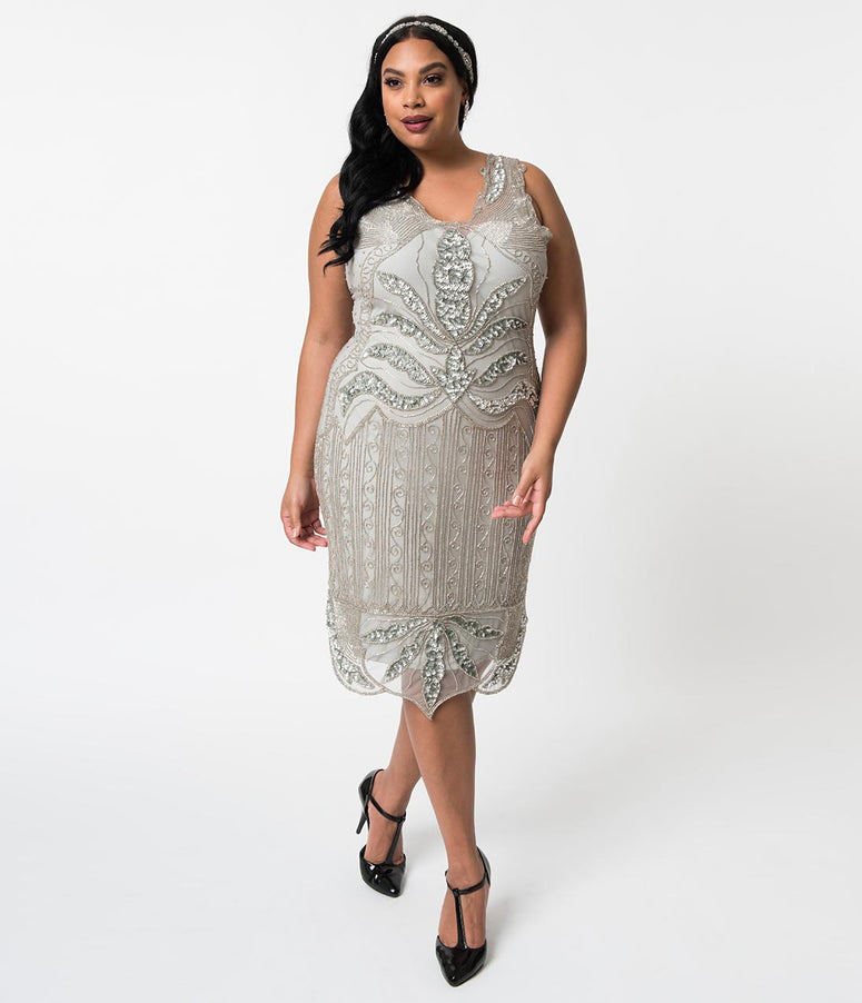 Plus Size 1920s Style Silver & Grey Beaded Elsa Cocktail Dress