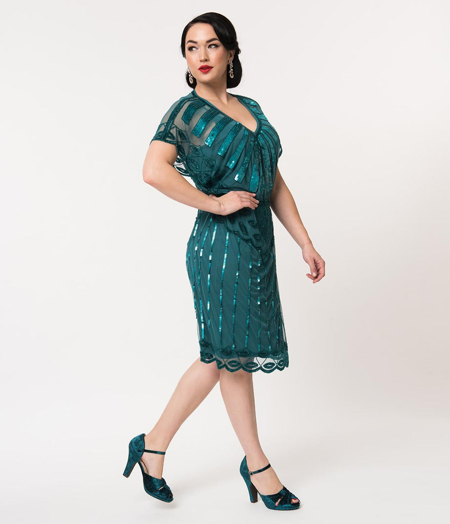 1920s Style Teal Bead Embellished Deco Angel Sleeve Flapper Dress