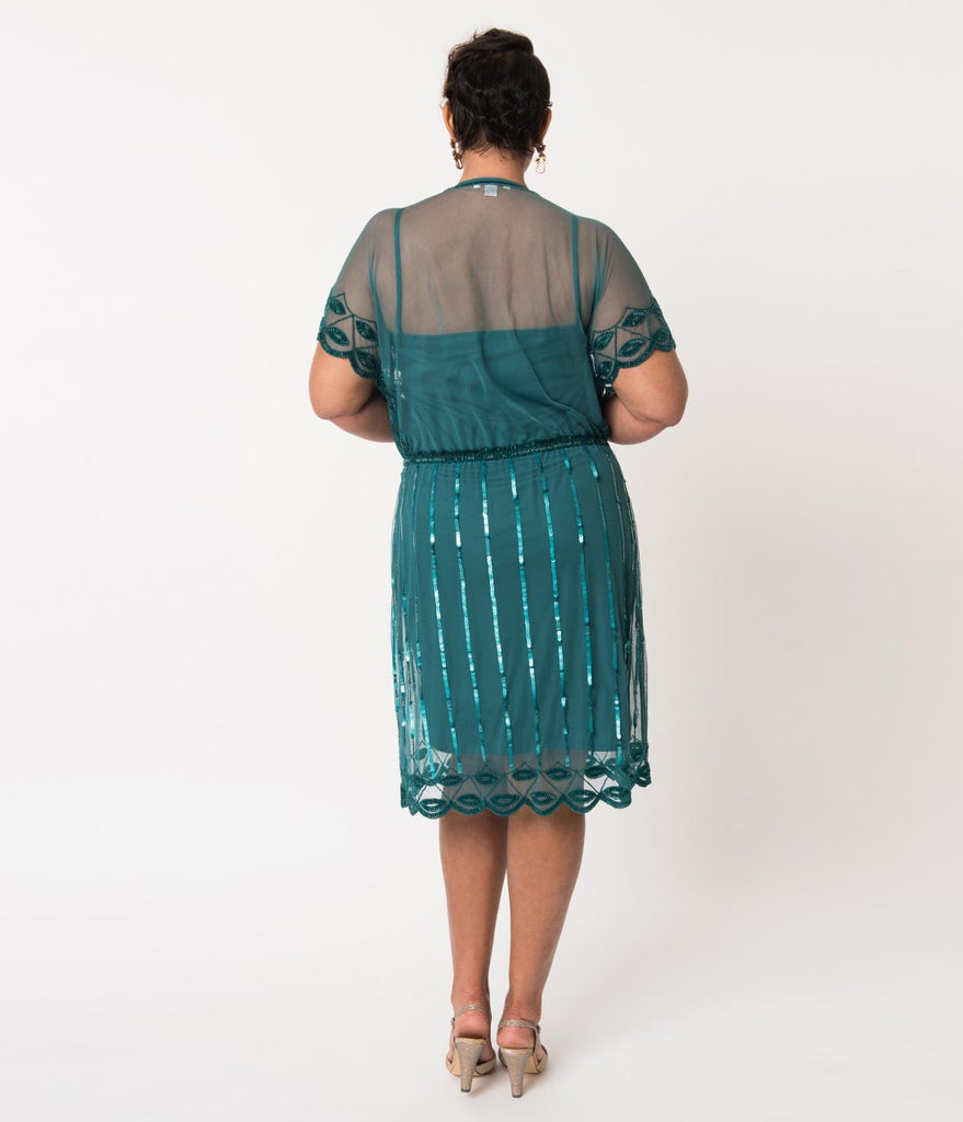 Plus Size 1920s Style Teal Bead Embellished Deco Angel Sleeve Flapper Dress