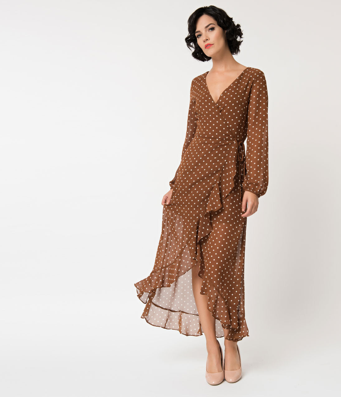 Polka Dot Dresses: 20s, 30s, 40s, 50s, 60s Brick  White Polka Dot High Low Wrap Sleeved Wrap Dress $62.00 AT vintagedancer.com