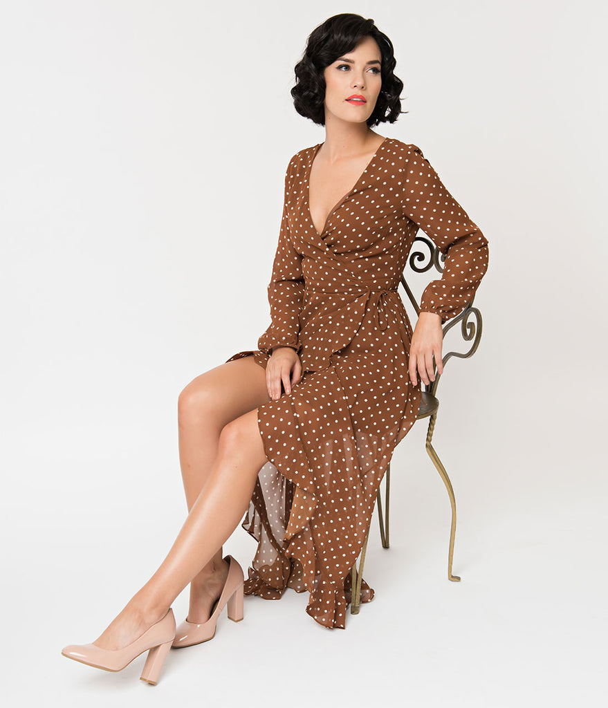 Brick & White Polka Dot High Low Wrap Sleeved Wrap Dress