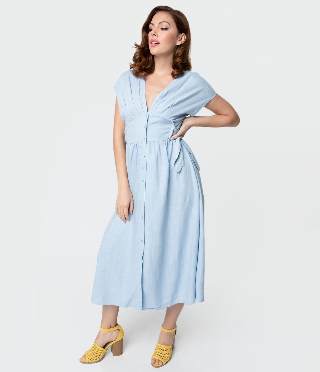 1930s Costumes- Bride of Frankenstein, Betty Boop, Olive Oyl, Bonnie & Clyde 1930S Style Light Blue Linen Button Up Shirtdress $68.00 AT vintagedancer.com