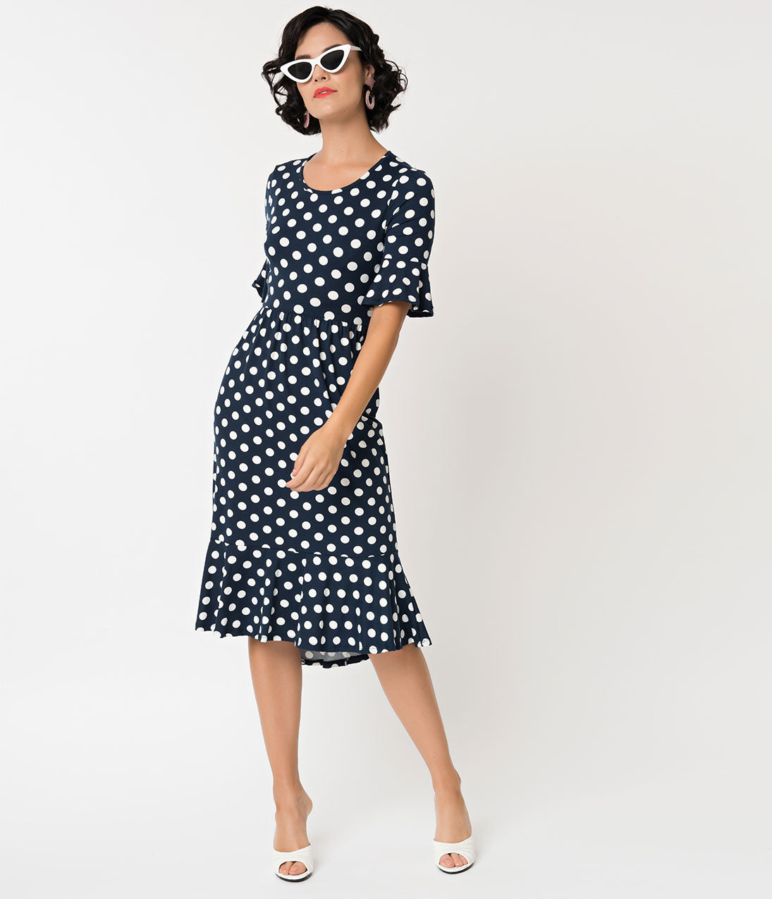Polka Dot Dresses: 20s, 30s, 40s, 50s, 60s Retro Style Navy  White Polka Dot Bell Sleeve Dress $48.00 AT vintagedancer.com