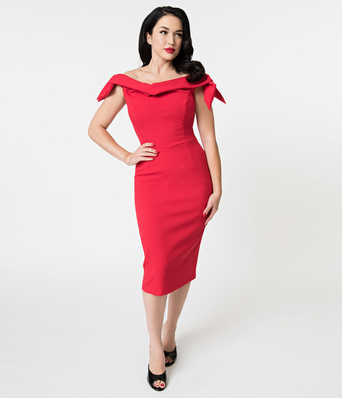 1950s Dresses, 50s Dresses | 1950s Style Dresses The Pretty Dress Company Red Off The Shoulder Tilly Pencil Dress $158.00 AT vintagedancer.com