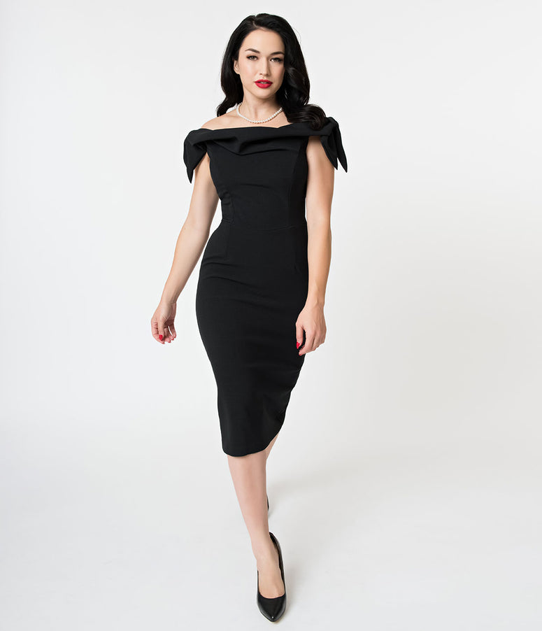 The Pretty Dress Company Black Off The Shoulder Tilly Pencil Dress