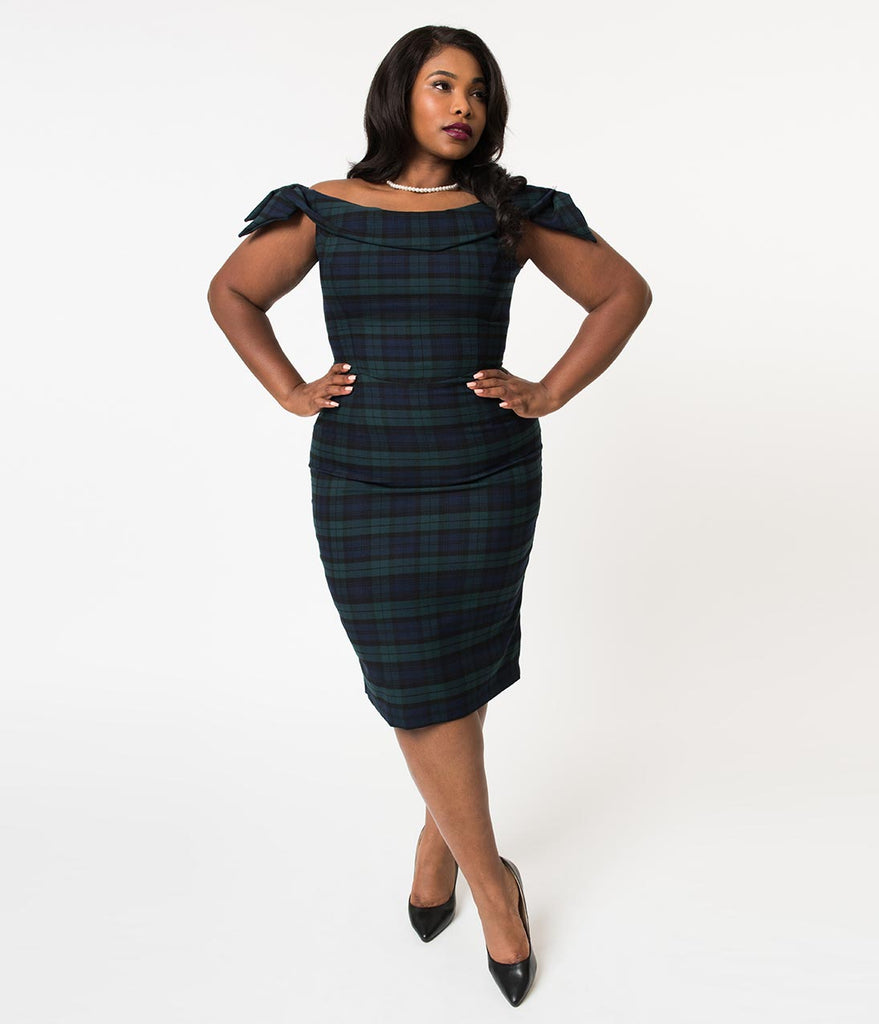 The Pretty Dress Company Navy & Forest Tartan Off The Shoulder Tilly Pencil Dress