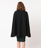Collectif Vintage Style Black Wool Caroline Cape Coat