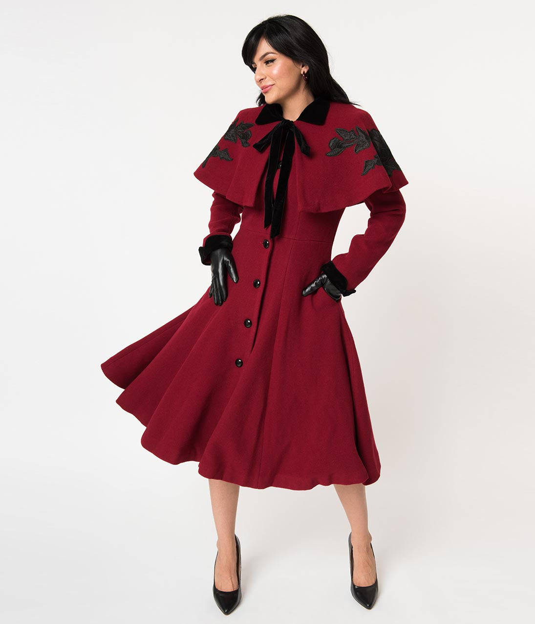 1930s Style Coats, Jackets | Art Deco Outerwear Collectif Burgundy Wool  Black Rose Claudia Coat  Cape $218.00 AT vintagedancer.com