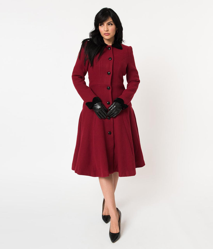 Collectif Burgundy Wool & Black Rose Claudia Coat & Cape