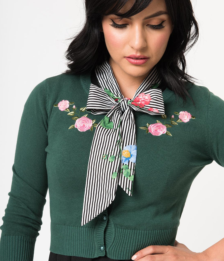 Collectif Emerald Knit & Pink Briar Rose Embroidery Sleeved Jessie Cardigan