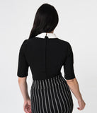 Collectif Black Stretch & White Collar Half Sleeve Winona Top