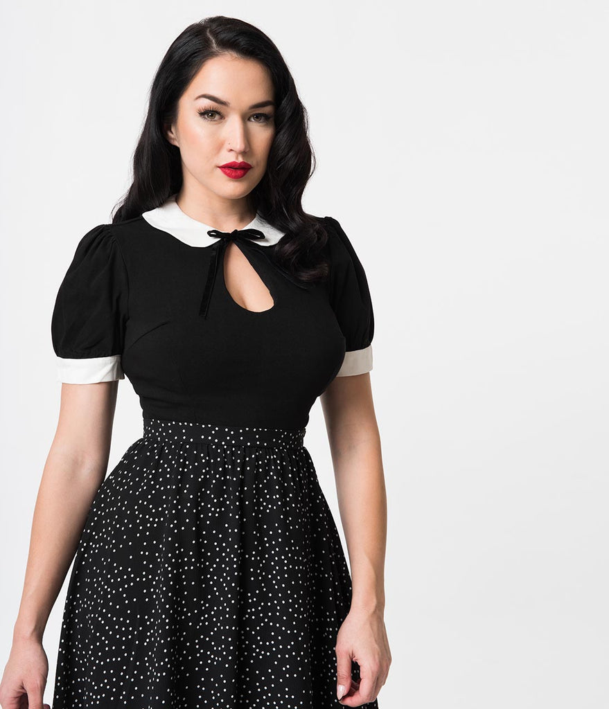 Collectif 1940s Style Black Keyhole Short Sleeve Khloe Top