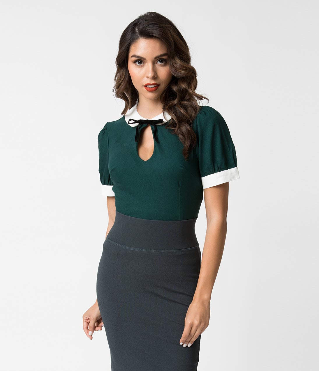 1940s Blouses and Tops Collectif 1940S Style Emerald Keyhole Short Sleeve Khloe Top $38.00 AT vintagedancer.com