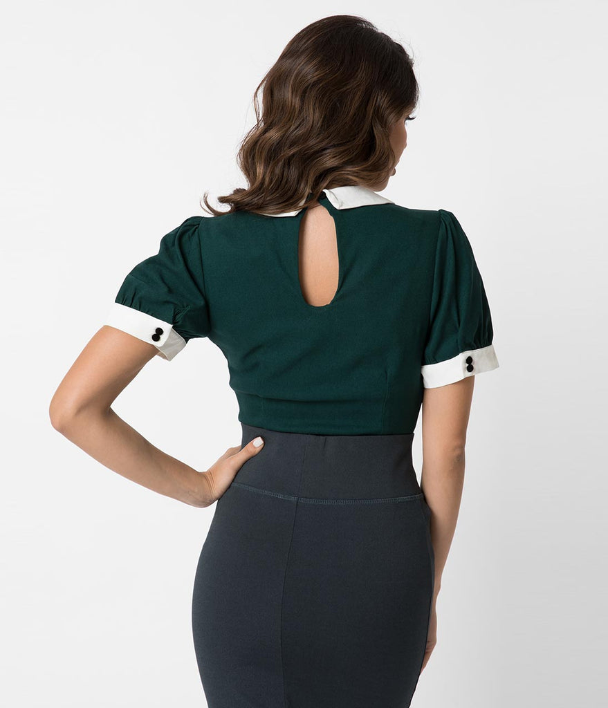 Collectif 1940s Style Emerald Keyhole Short Sleeve Khloe Top