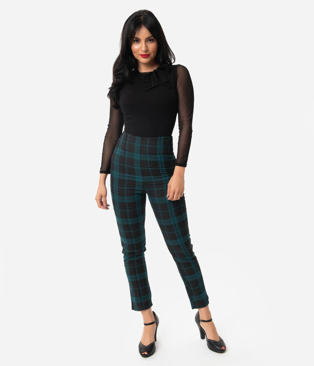 Vintage High Waisted Trousers, Sailor Pants, Jeans Collectif Black  Green Slither Check Bonnie High Waist Cigarette Pants $52.00 AT vintagedancer.com