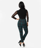 Collectif Black & Green Slither Check Bonnie High Waist Cigarette Pants