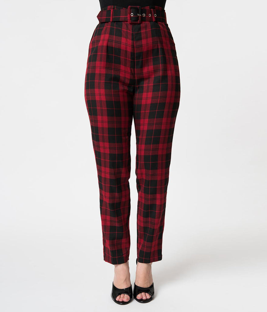Collectif 1960s Style Red & Black Rebel Plaid Thea High Waist Pants