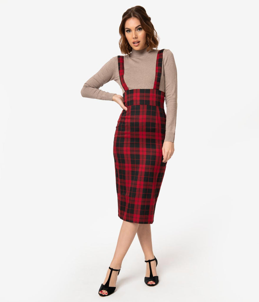 Collectif Red & Black Rebel Plaid High Waist Karen Suspender Pencil Skirt