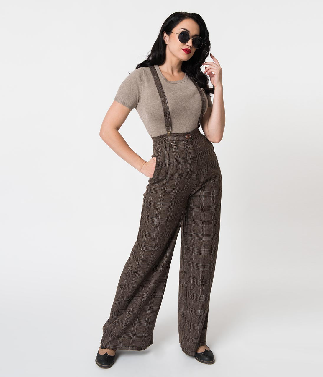 Vintage High Waisted Trousers, Sailor Pants, Jeans Collectif 1940S Style Brown Librarian Check High Waist Glinda Suspender Pants $58.00 AT vintagedancer.com