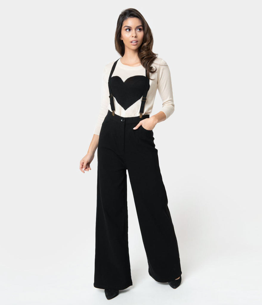 Collectif 1940s Style Black High Waist Glinda Suspender Pants