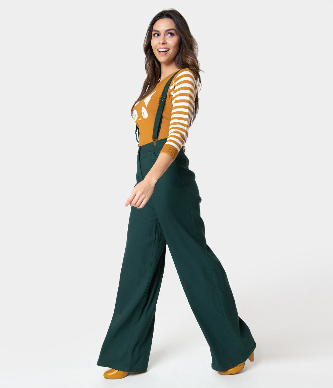 Vintage High Waisted Trousers, Sailor Pants, Jeans Collectif 1940S Style Emerald Green High Waist Glinda Suspender Pants $58.00 AT vintagedancer.com