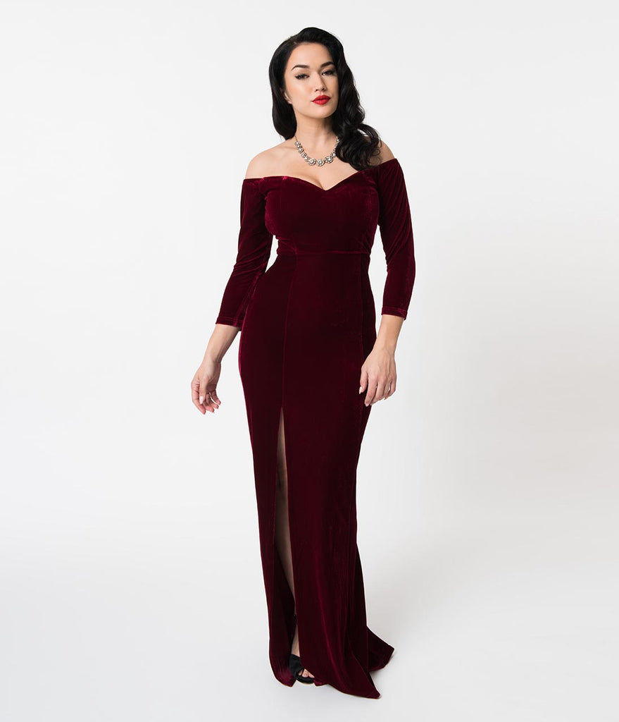 Collectif Wine Red Velvet Off Shoulder Sleeved Anjelica Maxi Dress