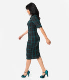 Collectif Black & Green Slither Plaid Black Collar Winona Wiggle Dress