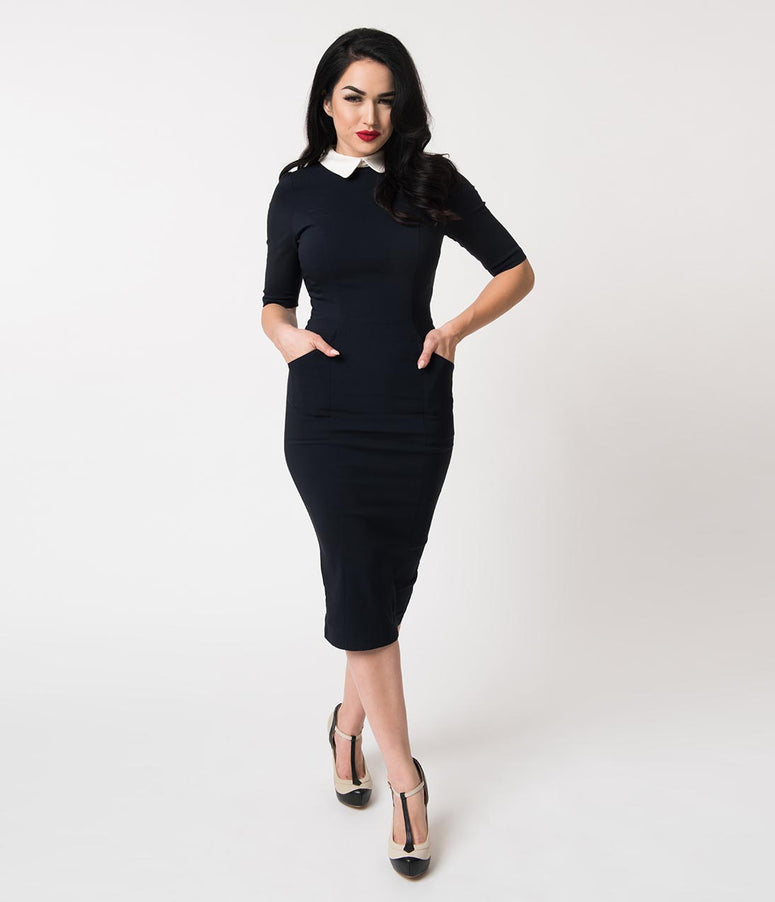 Collectif Navy Stretch & Ivory Collar Winona Wiggle Dress